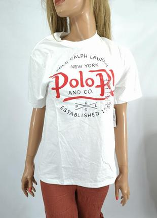 Футболка стильная polo ralph lauren, белая
