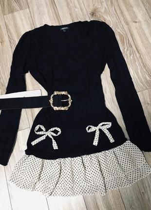 Чёрное платье с шифоновыми рюшками в горошек 😊