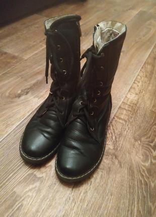 Зимние ботинки берцы кожа