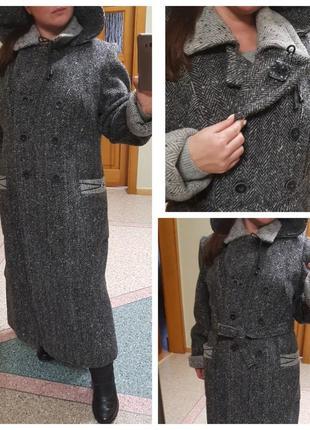 """Теплое зимнее пальто """"елочка"""" большого размера, шерсть art sag"""