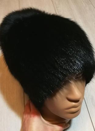 """Меховая шапка """"капля"""" из натурального меха ондатры и песца"""
