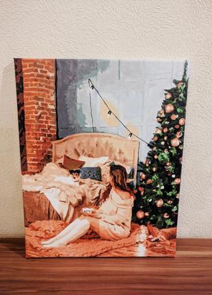 Картина рождество уют новый год, холст, акриловые краски