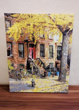 Картина осенний город, холст, акриловые краски