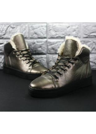 Кожаные ботинки 37р. ( стопа 23,5-24см) меховые полностью, много фото