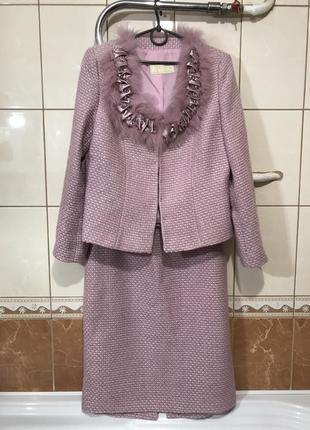 Костюм твидовый пиджак юбка в стиле chanel