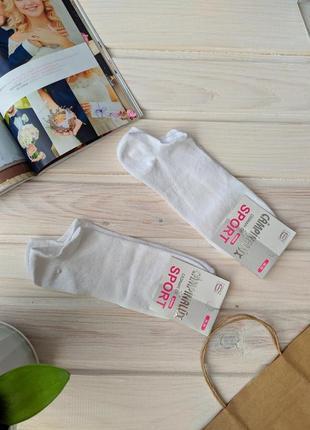 Белые носки носочки спорт спортивные однотонные тонкие хлопок хлопковые