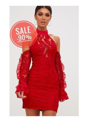 Сексуальне плаття prettylittlething кружево рюша мини платье чокер