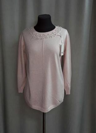 Нежно-розовый свитер с люрексом и жемчугом hostar