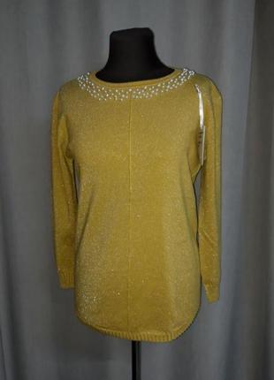 Нарядный свитерок с люрексом и жемчугом hostar
