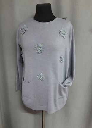 Серый свитер hostar с карманчиками  шерсть мериноса и кашемир