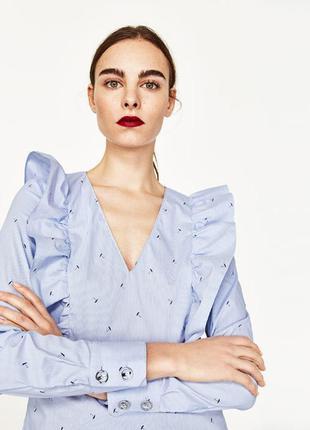 Блуза zara в принт зонтики