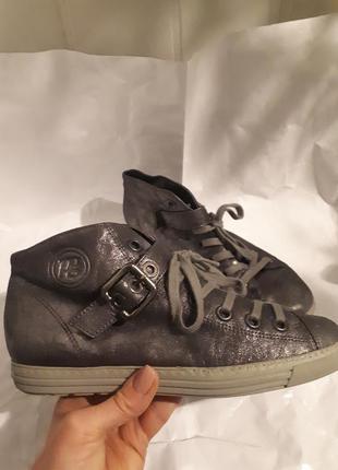 Кожаные спортивные ботинки, высокие кеды с сатиновым напылением paul green австрия