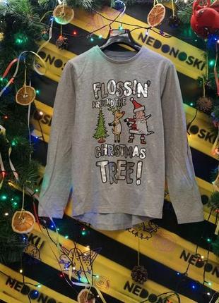 Новогодний рождественский праздничный лонгслив  олень,дед мороз