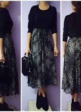 Шифоновая леопардовая юбка миди