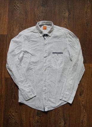 Мужская рубашка hugo boss100% котон стойка с отстегивающимся воротником