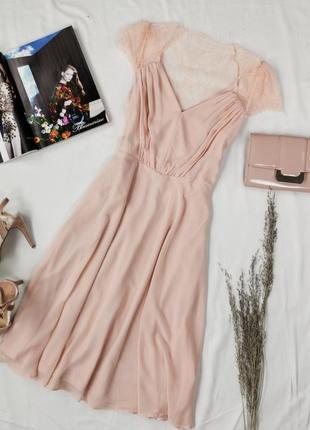 Нежное платьице цвета нюд с гипюровой спинкой dr1948111  asos