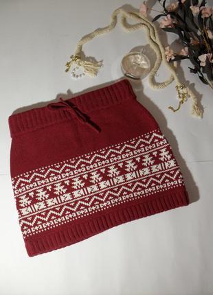Теплая вязаная юбка орнамент fishbone-s
