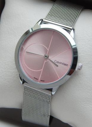 Красивые женские наручные часы серебристого цвета с розовым циферблатом, 2 размера