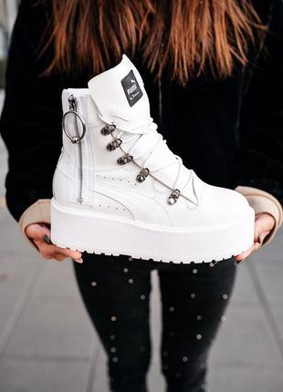 Puma x fenty by rihanna sneaker boot white женские демисезонные кроссовки белые