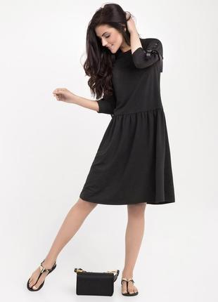 Платье черное миди базовое casual повседневное зима демисезонное