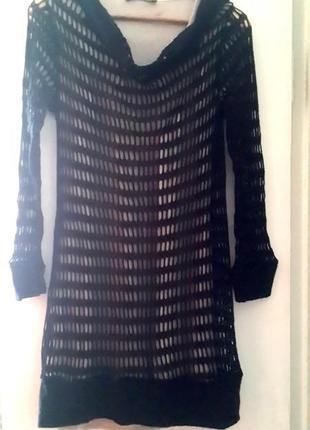 Эксклюзивное двойное, шерстяное, стрейчевое платье с длинным рукавом