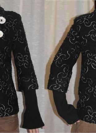 Отличное пальто рукав 3/4 вязанный с узором черное букле