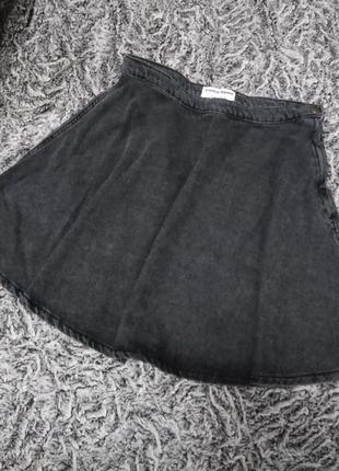 Серая новая джинсовая юбка солнце, american apparel