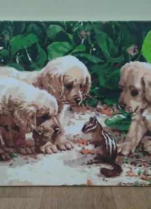 Картина щенки и бурундук