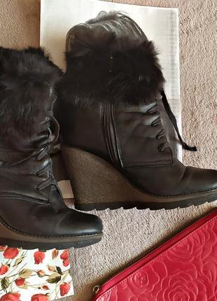 Кожаные зимнее сапоги с мехом