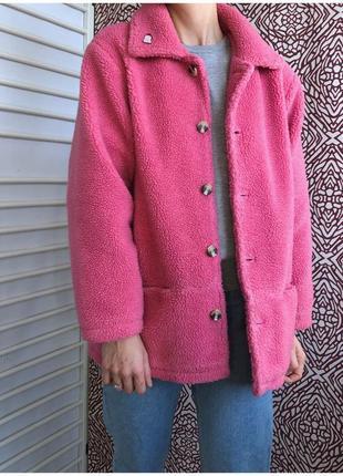 Розовая теплая шубка тедди