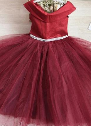 Праздничное платье с блестящим корсетом для девочки 5-8 лет