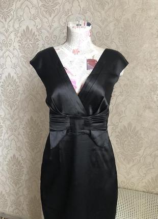 Нарядное красивое чёрное платье-миди из атласа на подкладке oodji. 46 наш