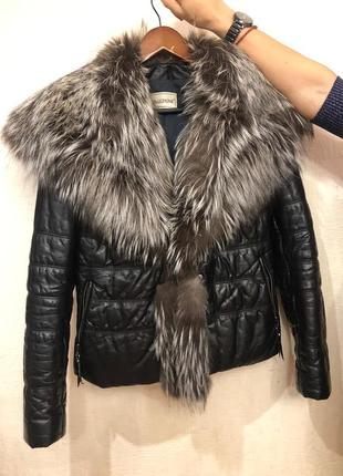 Кожаная куртка зима италия с натуральным мехом