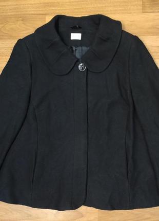 Elvi черное демисезонное пальто, полупальто, вискоза и шерсть