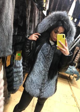 Кожаный пуховик с натуральным мехом чернобурки/ зимний пуховик/ зимняя куртка