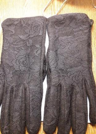 Шерстяные перчатки с ажурным верхом ,утеплитель меховушка