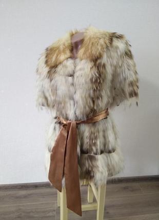 Меховая жилетка шуба из енота тёплая шубка натуральная