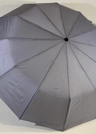 Мужской женский зонт автомат антиветер 12 спиц карбон universal серый