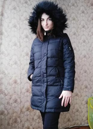 Теплый зимний пуховик длинный пальто на пуху