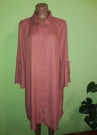 Платье рубашка пурпурно-розового цвета