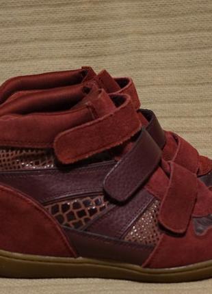 Яркие бордовые комбинированные кожаные сникерсы skechers 36 1/2 р.