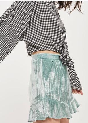 Крутые бархатные велюровые шорты тиффани с рюшами