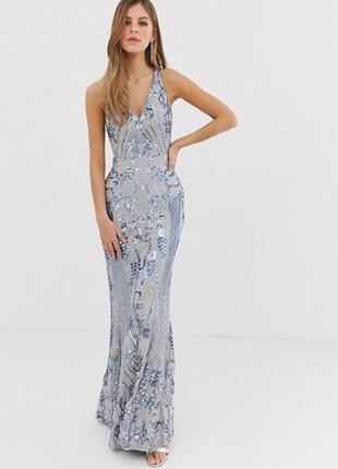 Облегающее платье с вышивкой и пайетками bariano, размер 8