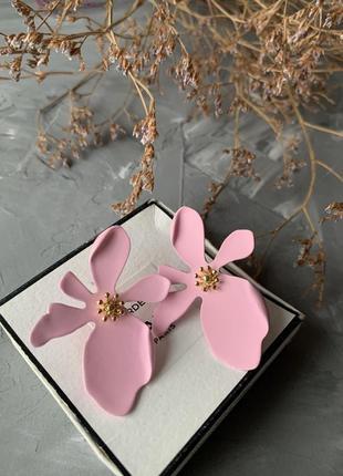 Серьги розовые цветы