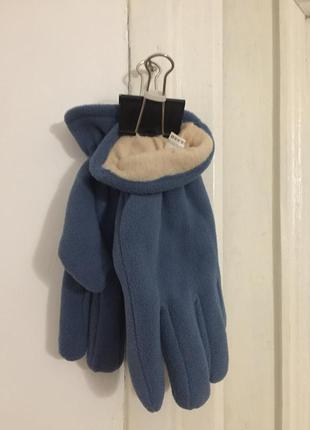 Флисовые перчатки голубые размер l