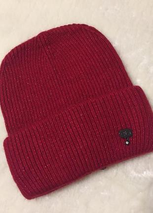 Ангоровая стильная шапка-бини