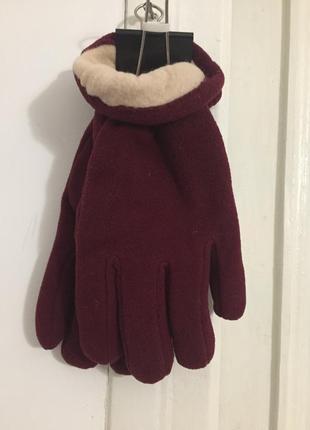 Флисовые перчатки цвета бордо, размер xl