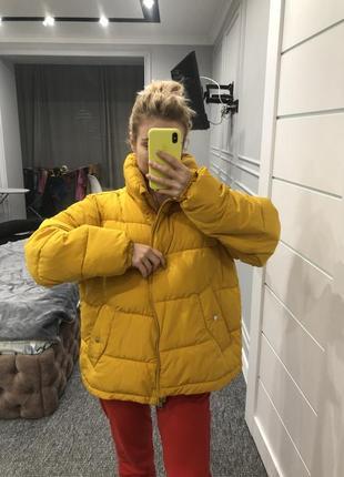 Куртка жёлтая дутик зефирка пуховик осень/ зима