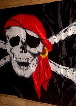 """Пиратский флаг """"веселый роджер"""" большой 150х88см"""