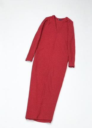 Красное платье в рубчик от zara